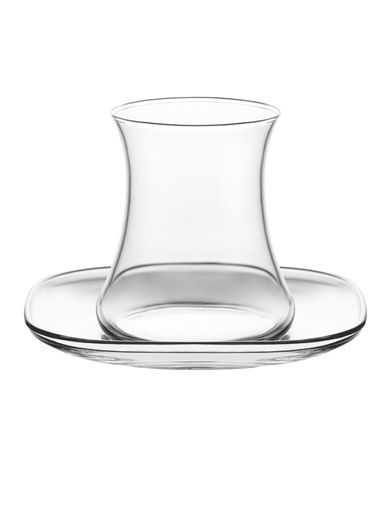 Lav Lal Keyf Çay Bardak Seti Takımı - Çay Bardağı - Tabağı Takımı 24 Prç. Renkli